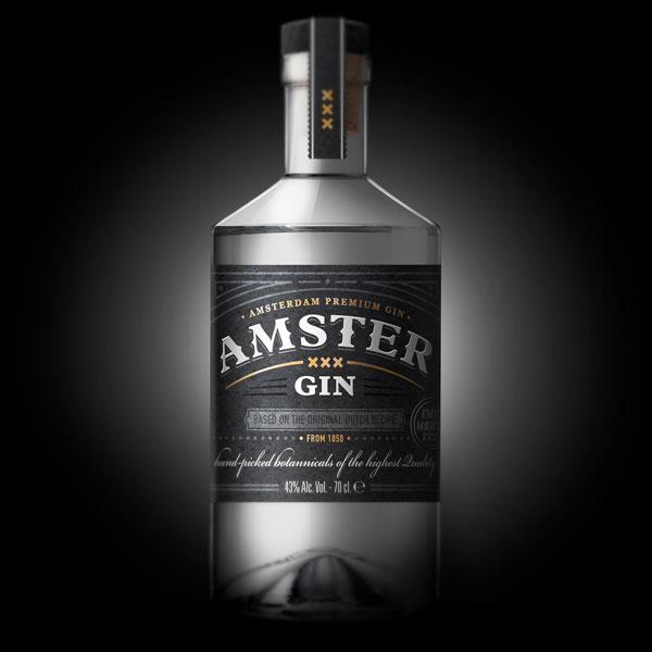Amster Gin Bottle Packaging Design