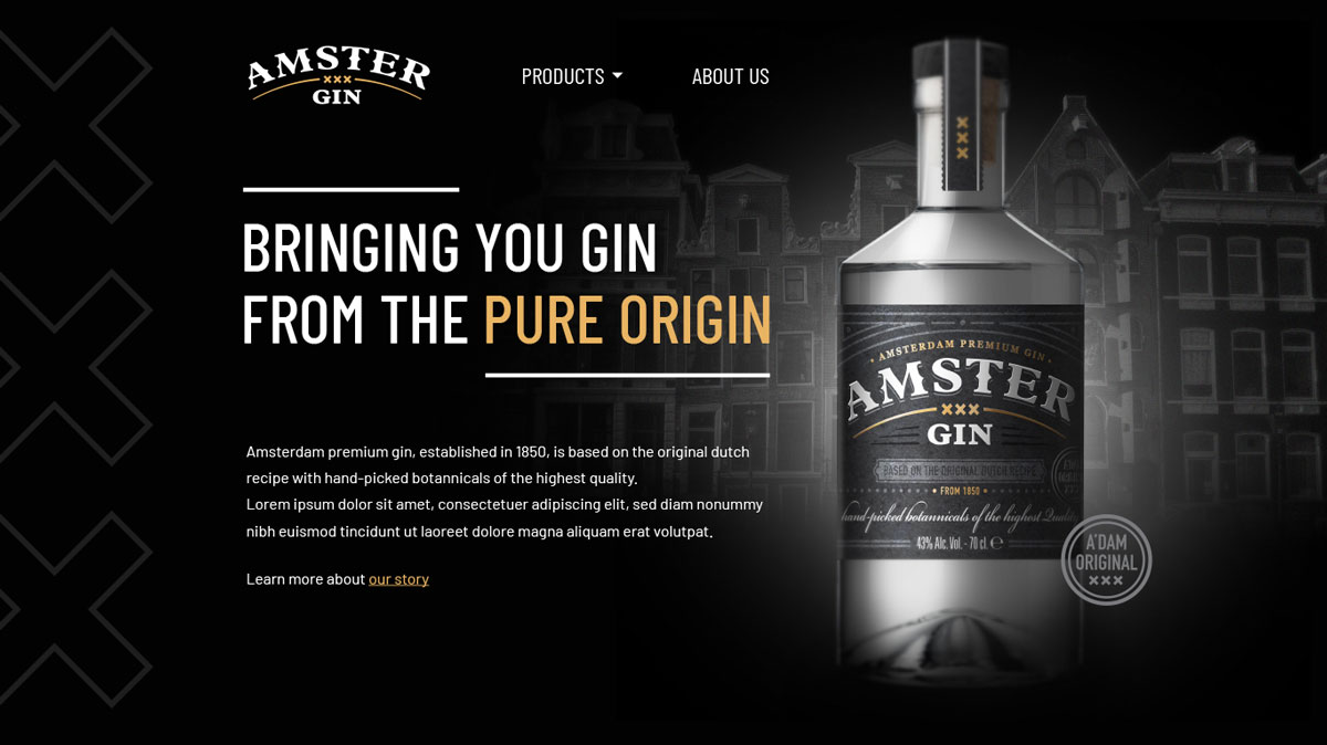 Amster Gin Corporate Website Design