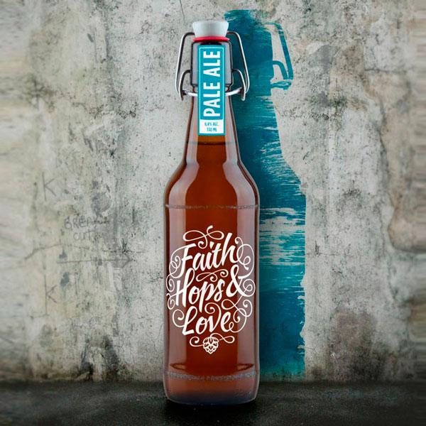 Faith Hops Love Beer Bottle Packaging Design