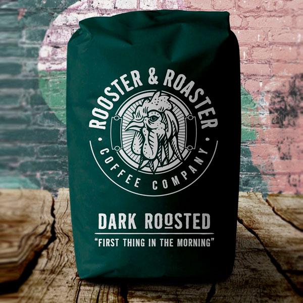 Rooster Roaster Dark Coffee Packaging Design