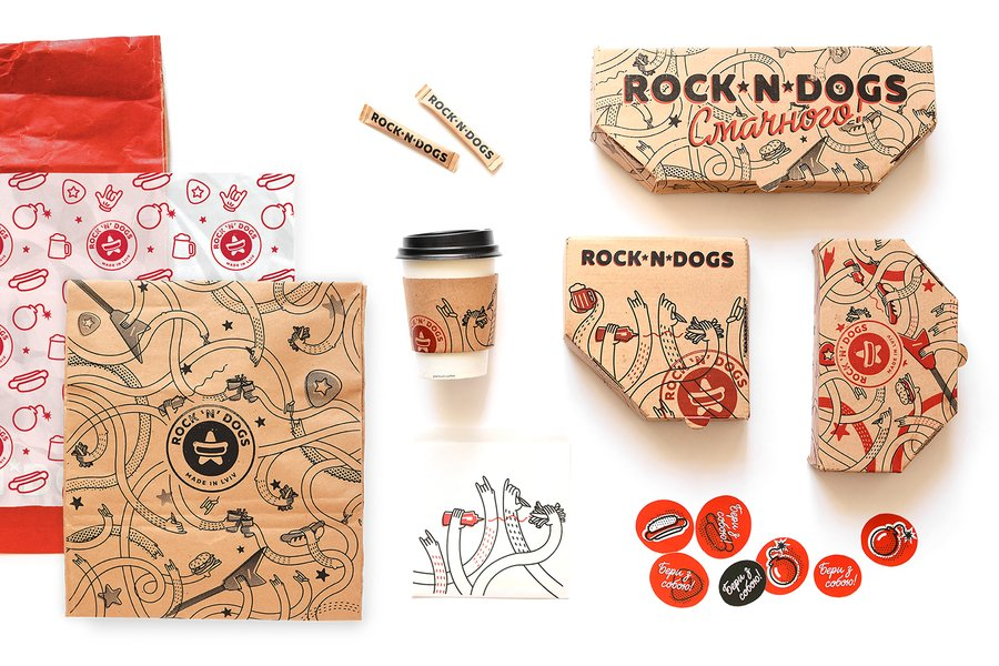 rock n dogs food packaging design
